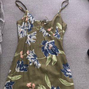 Amuse society olive green midi floral dress